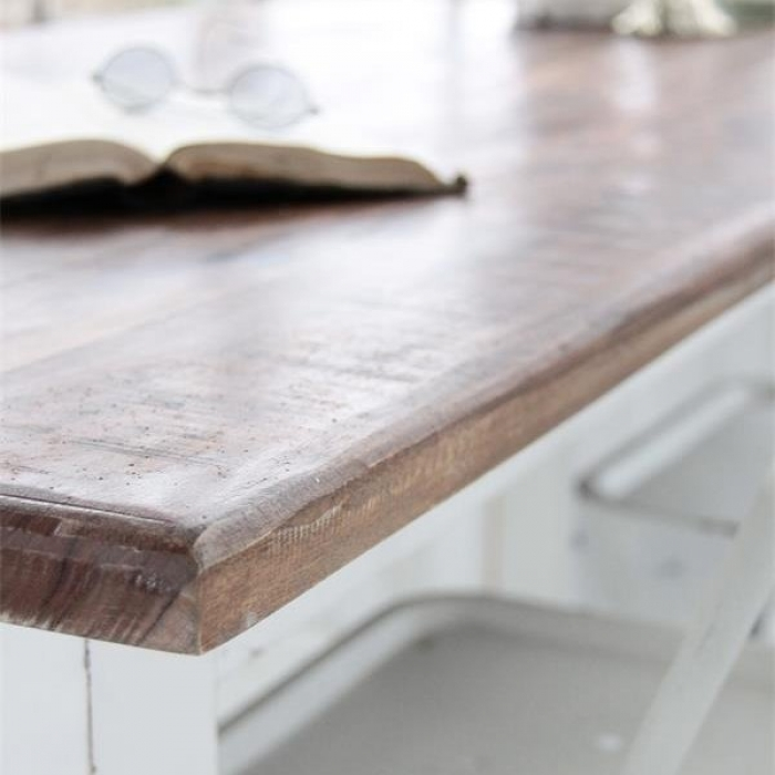 weisser holz esstisch shabby chic 160 cm bei le bon jour. Black Bedroom Furniture Sets. Home Design Ideas