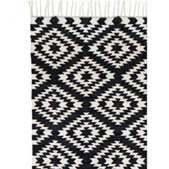 Teppich läufer schwarz weiß  Läufer klein Apache, 55 x 120 cm, schwarz/weiss bei Le Bon Jour